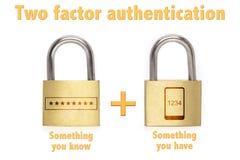 O conceito de dois fatoras dos cadeado da autenticação sabe e tem Imagens de Stock Royalty Free