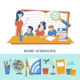 O conceito de homeschooling O emblema da educação de casa para grandes famílias Ilustração do vetor ilustração do vetor