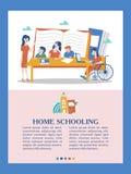 O conceito de homeschooling O emblema da educação de casa para grandes famílias Ilustração do vetor ilustração stock