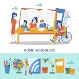 O conceito de homeschooling O emblema da educação de casa para grandes famílias Ilustração do vetor ilustração royalty free