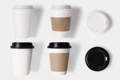 O conceito de projeto do grupo e da tampa do copo de café do modelo ajustou-se no CCB branco Fotografia de Stock Royalty Free
