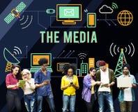 O conceito de rádio dos multimédios de Media Communication imagens de stock