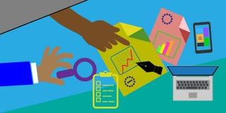 O conceito de reuniões da revisão, este igualmente representa o negócio, revisão de projeto Fotos de Stock Royalty Free