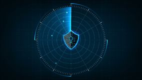 O conceito de segurança cibernética da tecnologia da Internet protege e verifica o ataque de vírus do computador com o ícone Shie ilustração royalty free