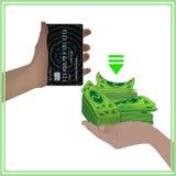 O conceito de um cartão de banco é igual ao dinheiro real Imagem de Stock Royalty Free