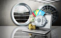 O conceito de um dinheiro e de uns cartões de operação bancária em linha seguro atrás do th ilustração royalty free