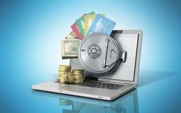 O conceito de um dinheiro e de uns cartões de operação bancária em linha seguro atrás do th ilustração stock