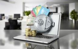 O conceito de um dinheiro e de uns cartões de operação bancária em linha seguro atrás do th ilustração do vetor