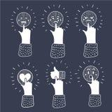 O conceito de uma comunicação com mãos do esboço e os ícones sociais dos meios vector a ilustração ilustração royalty free
