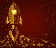 O conceito de uma partida, negócio Um foguete sob a forma da areia dourada Isolado de um fundo do quadro do perfil baixo imagem de stock royalty free