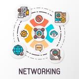 O conceito de uma rede social que contenha ícones de uma comunicação Ilustração do vetor ilustração stock