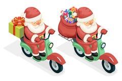 O conceito do ícone de Santa Claus Courier Scooter Symbol Box da caixa de presente do saco da entrega isolou o projeto 3d liso is Fotos de Stock