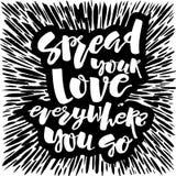 O conceito do amor e da caridade entrega o cartaz da motivação da rotulação Imagens de Stock