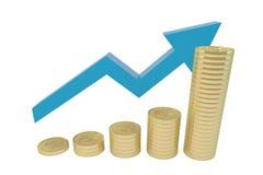 O conceito do aumento das moedas de ouro Imagens de Stock Royalty Free
