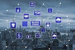 O conceito do blockchain na gestão de base de dados Fotos de Stock Royalty Free