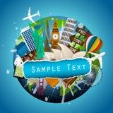 O conceito do curso Monumentos famosos do mundo Imagem de Stock Royalty Free