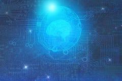 O conceito do desenvolvimento da inteligência artificial na terra do planeta e do relacionamento com o outro estrangeiro desenvol ilustração stock