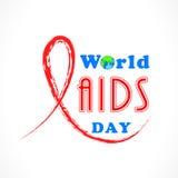 O conceito do Dia Mundial do Sida com vermelho ajuda à fita da conscientização Foto de Stock Royalty Free