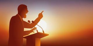 O conceito do discurso com um homem que enderece um público vem considerá-lo em sua reunião ilustração royalty free