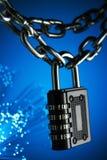 O conceito do fechamento, proteção Blockchain da tecnologia, criptografia do tráfico da Internet Imagens de Stock
