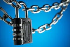 O conceito do fechamento, proteção Blockchain da tecnologia, criptografia do tráfico da Internet Imagem de Stock