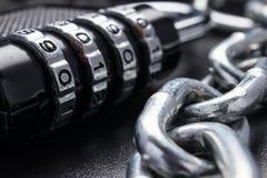 O conceito do fechamento, proteção Blockchain da tecnologia, criptografia do tráfico da Internet Proteção de senha Foto de Stock