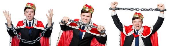 O conceito do homem de negócios do rei com coroa Imagens de Stock Royalty Free