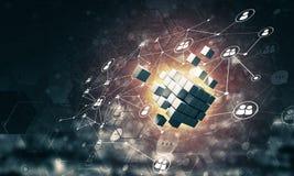 O conceito do Internet e os trabalhos em rede com cubo digital figuram em d Foto de Stock