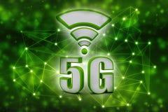 o conceito do Internet 5g, tabuleta com 5g assina dentro o fundo da tecnologia Imagens de Stock