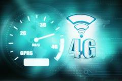 o conceito do Internet 4g, tabuleta com 4g assina dentro o fundo digital Imagens de Stock Royalty Free