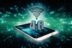 o conceito do Internet 4g, tabuleta com 4g assina dentro o fundo digital Imagens de Stock