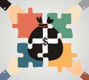 O conceito do investimento e do negócio da junção Homens de negócios dobrados ilustração stock