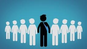 O conceito do líder de um grupo, pictograma sobre o fundo azul (CEO) video estoque