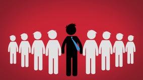 O conceito do líder de um grupo, pictograma sobre o fundo vermelho (CEO) ilustração stock