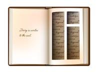 O conceito do livro da leiteria, o conceito das memórias da leiteria, o livro da leiteria do vintage com página como uma janela e ilustração stock