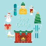 O conceito do Natal com ícones no projeto liso e a mão escrita fraseiam boas festas Atributos do Natal e da estância de esqui Vec Imagens de Stock Royalty Free