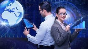 O conceito do negócio da colaboração virtual Imagens de Stock Royalty Free