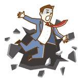 O conceito do negócio, homem de negócio cai para baixo ilustração royalty free