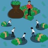 O conceito do negócio, homem de negócios pobre do ` s traz o dinheiro dirigir - o vetor ilustração do vetor