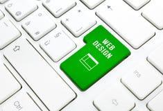 Conceito do negócio do design web. O verde entra no botão ou fecha-o no teclado branco Foto de Stock Royalty Free