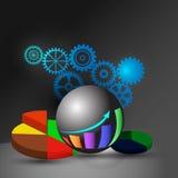 O conceito do painel da inteligência empresarial, igualmente representa o painel analítico, o relatório e o infographics Fotografia de Stock
