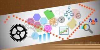 O conceito do painel da inteligência empresarial, igualmente representa o painel analítico, relatando Imagem de Stock