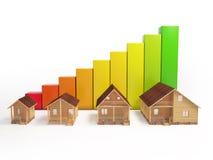 O conceito do ritmo do crescimento da construção das casas rendição 3d de um número de casas nos gráficos do fundo Imagem de Stock Royalty Free