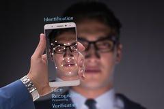 O conceito do software e do hardware do reconhecimento de cara imagem de stock royalty free
