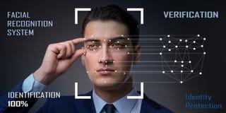 O conceito do software e do hardware do reconhecimento de cara fotografia de stock royalty free