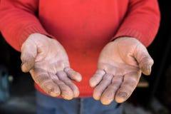 O conceito do trabalho duro, mãos proximamente, segue do trabalho, Ucrânia Fotos de Stock Royalty Free