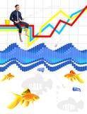 O conceito do trabalho na bolsa de valores como a pesca Foto de Stock