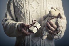 O conceito do Valentim ou do Natal/do presente ano novo Foto de Stock Royalty Free