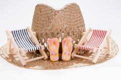 O conceito do verão, dois expõe ao sol vadios no chapéu de palha fotografia de stock royalty free