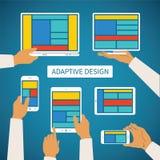 O conceito do vetor da Web responsiva adaptável moderna e a aplicação projetam Fotografia de Stock Royalty Free